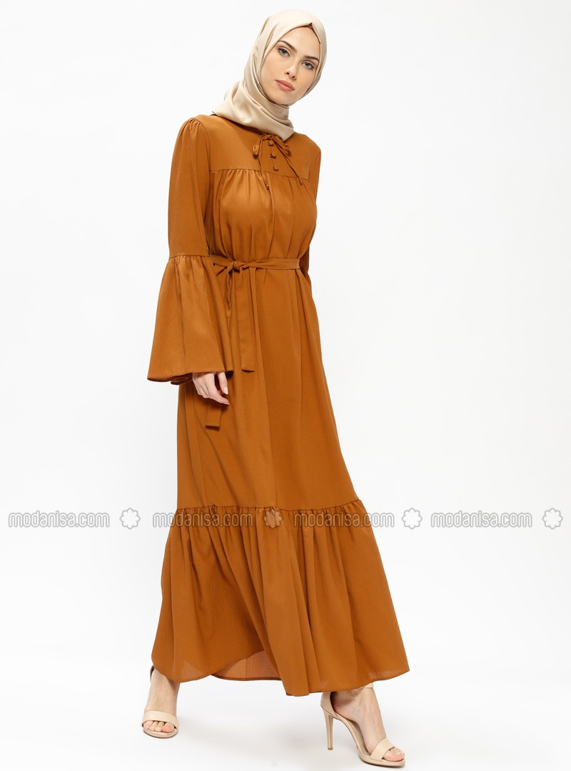 Tan - Crew neck - Unlined - Dresses