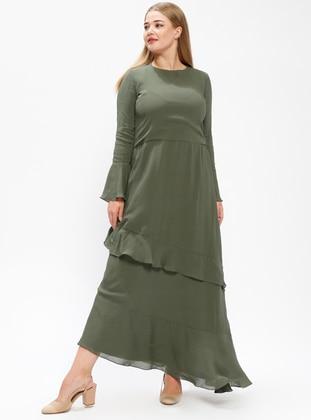 Khaki – Fully Lined – Crew Neck – Plus Size Dress – Melisita