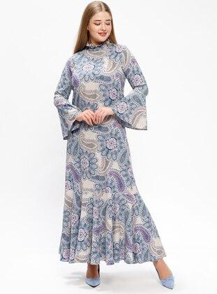 Blue – Pink – Multi – Unlined – Polo Neck – Plus Size Dress – Melisita