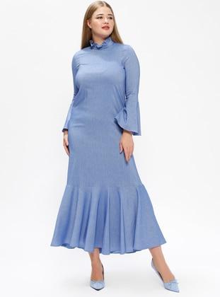 Blue Unlined Polo Neck Plus Size Dress