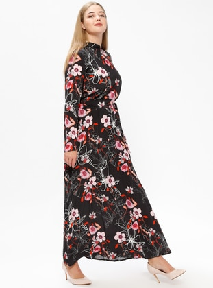 Black – Pink – Multi – Unlined – Crew Neck – Plus Size Dress – Melisita