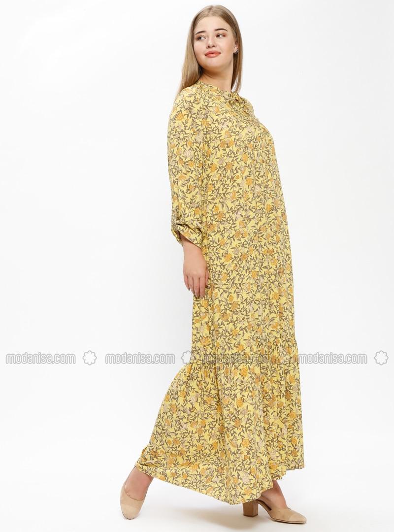 cfb6d0454f2 Yellow - Multi - Unlined - Crew neck - Viscose - Plus Size Dress. Fotoğrafı  büyütmek için tıklayın