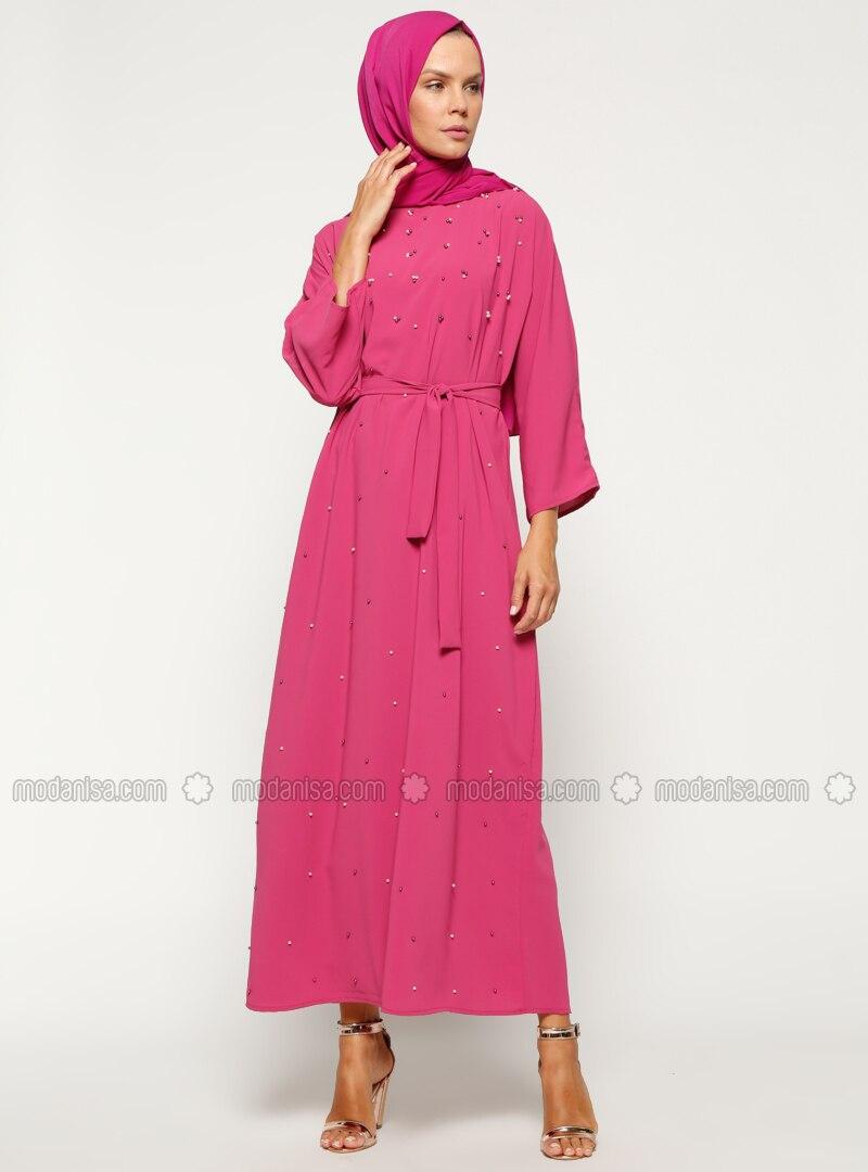Fuchsia - Crew neck - Unlined - Dresses