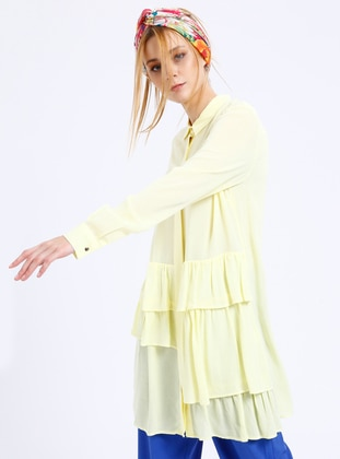 Yellow - Point Collar - Viscose - Tunic