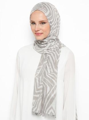 Gray - Printed - Cotton - Viscose - Shawl