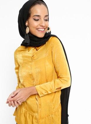 Yellow - Mustard - Point Collar - Blouses