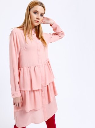 Fashion Light Gizli Düğmeli Tunik - Pudra