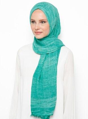 Green - Plain - Cotton - Viscose - Shawl
