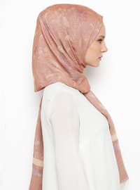 Tan - Printed - Cotton - Viscose - Shawl
