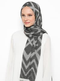 Black - Printed - Cotton - Viscose - Shawl