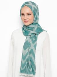 Green - Printed - Cotton - Viscose - Shawl