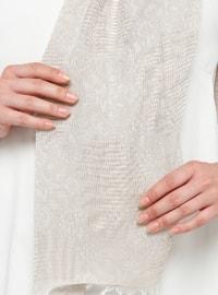 Beige - Plain - Cotton - Viscose - Shawl