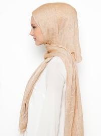 Camel - Plain - Cotton - Viscose - Shawl