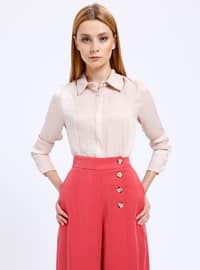 Beige - Point Collar - Blouses