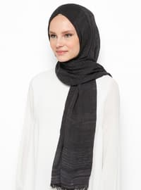 Black - Plain - Cotton - Viscose - Shawl