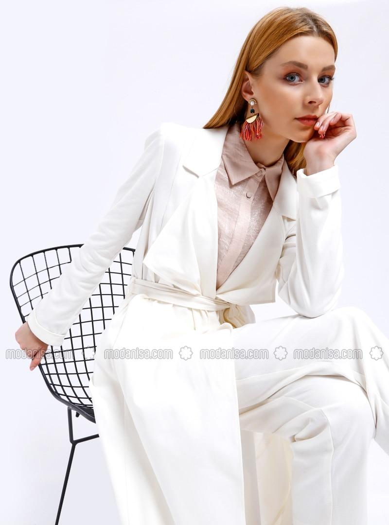 Ecru - Unlined - Shawl Collar - Trench Coat