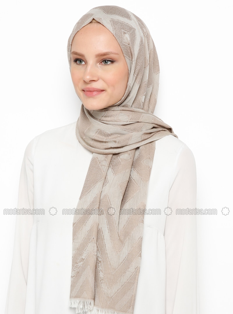 Beige - Printed - Cotton - Viscose - Shawl