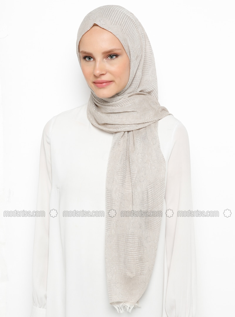 Beige - Plain - Cotton - Viscose - Shawl