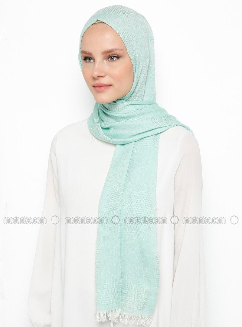 Green Almond - Plain - Cotton - Viscose - Shawl