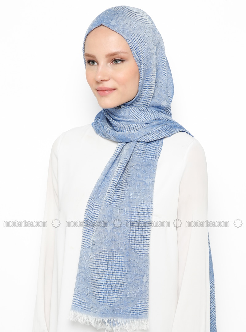 Saxe - Plain - Cotton - Viscose - Shawl