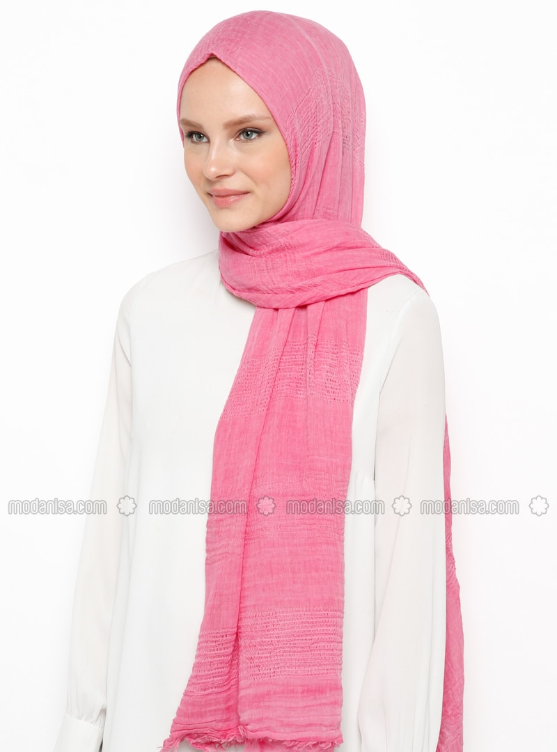 Pink - Plain - Cotton - Viscose - Shawl