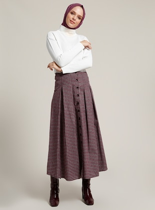 Maroon - Checkered - Unlined - Skirt