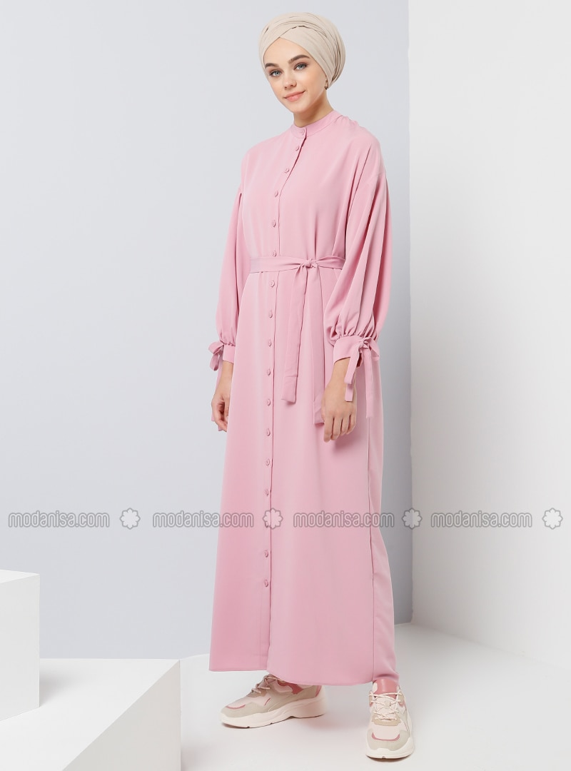 Pink   Button Collar   Unlined   Dresses by Modanisa
