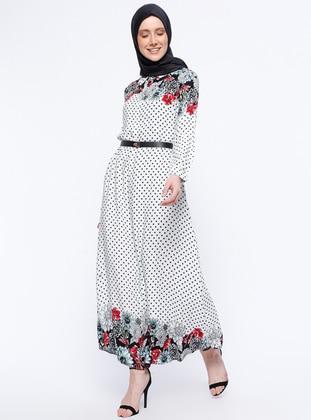 Ecru - Floral - Polka Dot - Point Collar - Unlined - Dresses