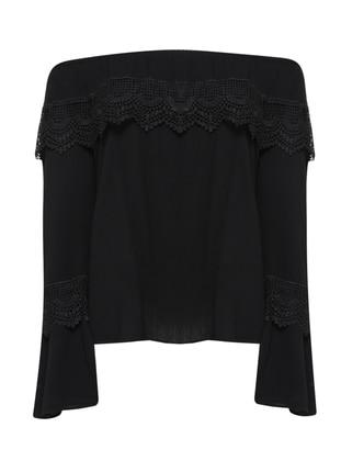 Kayık Yaka Bluz - Siyah - AKABE MODA Ürün Resmi
