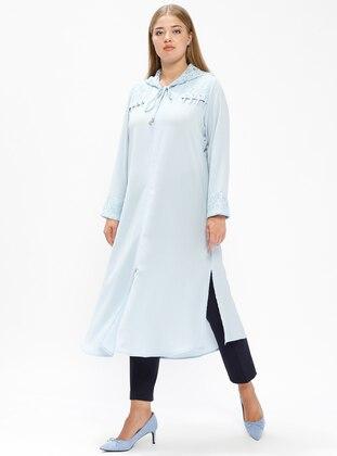 Blue - Unlined - Plus Size Coat