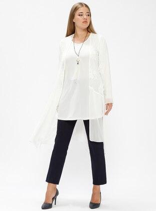 White - Crew neck - Unlined - Plus Size Suit