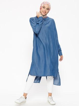 Arkası Boydan Düğmeli Tensel Kot Tunik - Mavi - Neways Ürün Resmi