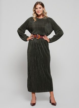 Khaki - Unlined - Plus Size Skirt