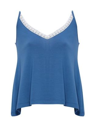 Blue - V neck Collar - Shawl - Pyjama