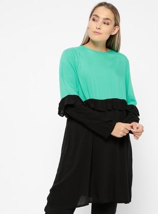 Green - Black - Crew neck - Viscose - Plus Size Tunic