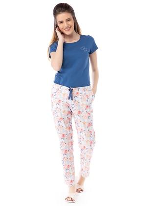 Gül Desenli Bayan Pijama Takımı - Mavi - Pamuk&Pamuk Ürün Resmi