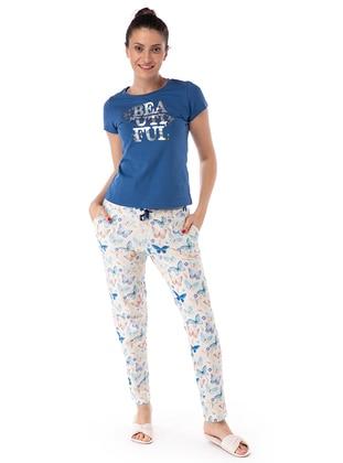Kelebek Desen Pijama Takım - Mavi - Pamuk&Pamuk Ürün Resmi