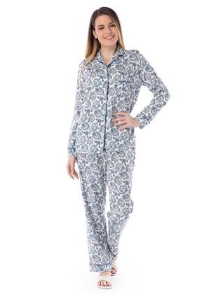 Şal Desenli Gömlek Pijama Takım - Mavi - Pamuk&Pamuk Ürün Resmi