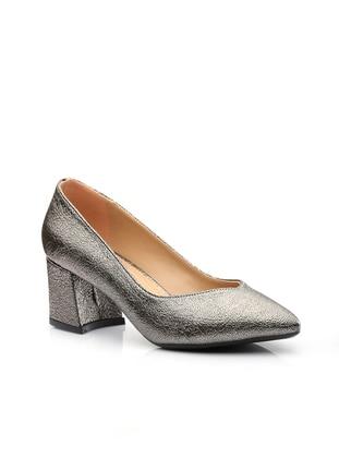 Vizon Topuklu Ayakkabı - Platin