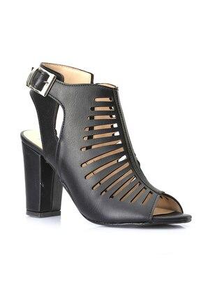 Vizon Topuklu Ayakkabı - Siyah