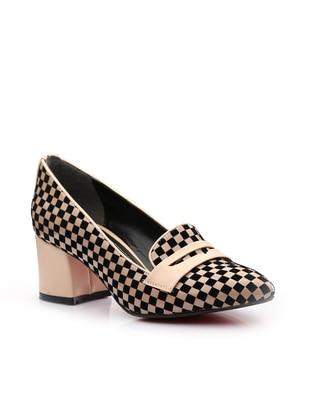 Vizon Topuklu Ayakkabı - Vizon Siyah