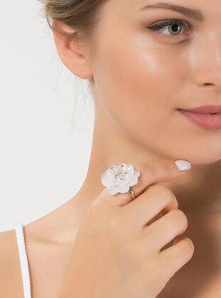 Modex Tüllü Çiçek Yüzük - Beyaz