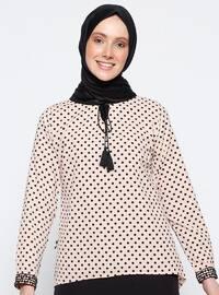 Powder - Polka Dot - V neck Collar - Blouses