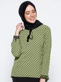 Green - Polka Dot - V neck Collar - Blouses
