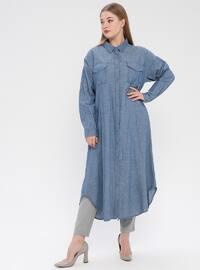 Blue - Navy Blue - Cotton - Plus Size Knitwear