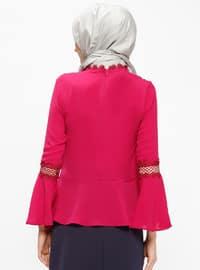 Pink - Fuchsia - Crew neck - Viscose - Blouses