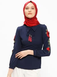 Navy Blue - Point Collar - Blouses