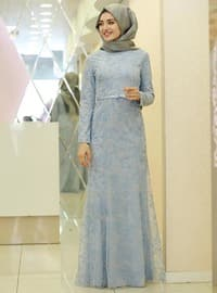 Blue - Multi - Fully Lined - Crew neck - Muslim Evening Dress