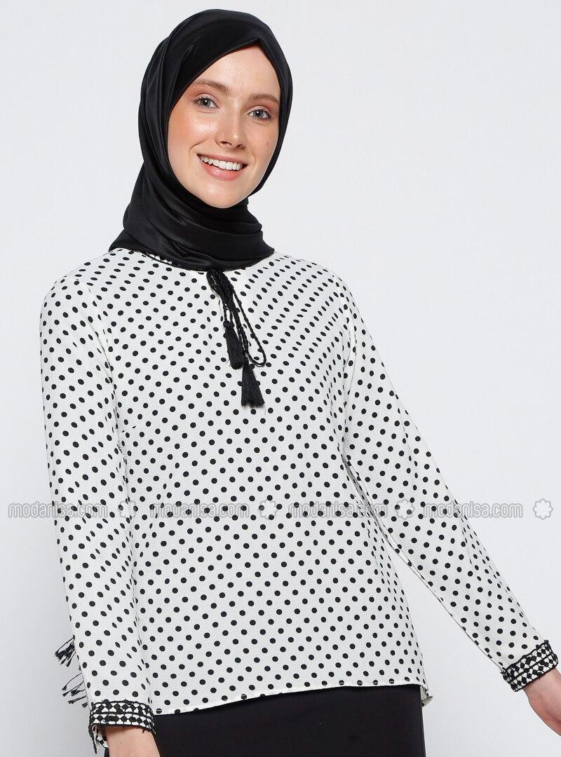 980d8f2d60 Ecru - Polka Dot - V neck Collar - Blouses. Fotoğrafı büyütmek için tıklayın