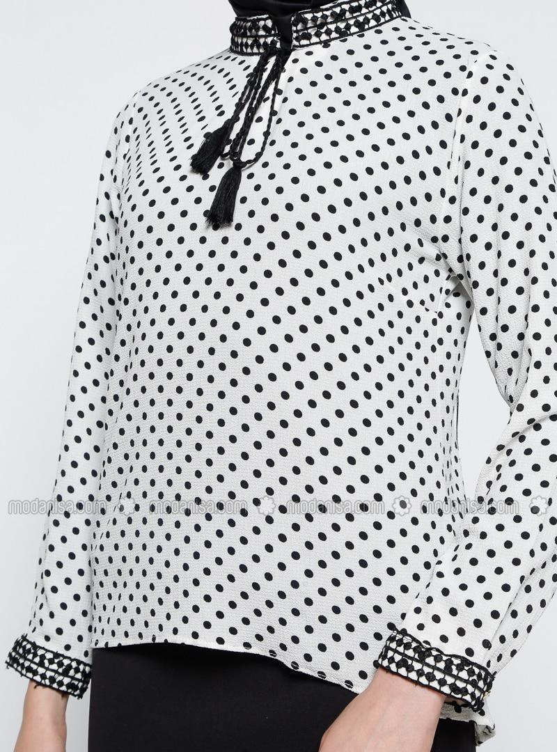1ed0b3b43f Ecru - Polka Dot - V neck Collar - Blouses